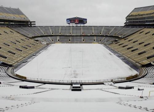 LSU's Tiger Stadium Covered in Snow