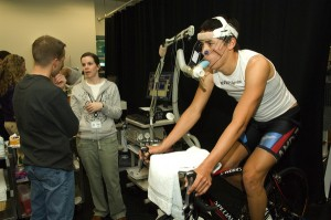 another rider (not me) taking a VO2 max test (notice the breathing tube)