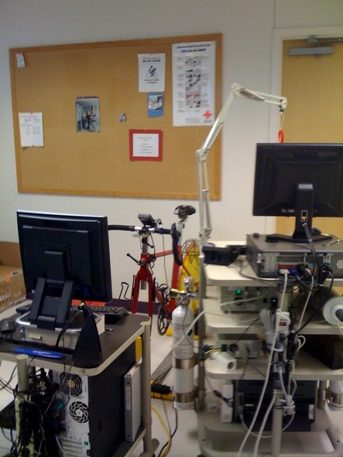 Velotron bike and testing equipment