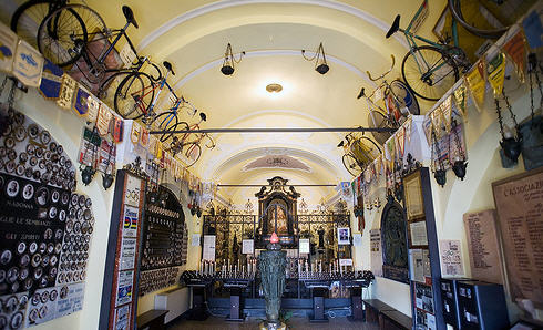 Inside of the Madonna del Ghisallo shrine