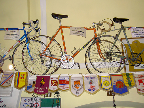 Bike of cycling great Eddy Merckx inside the shrine